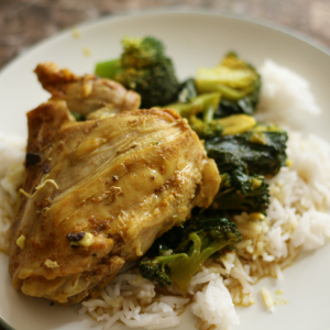 Chicken in the Greens served over rice.