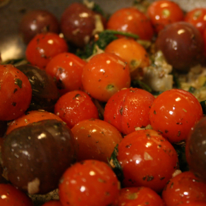 Cherry and grape tomatoes cooking into marinara.